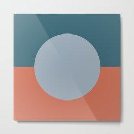 Dotted Half Half Minimalist Geometric in Blue and Clay Metal Print