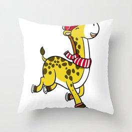 Skiing Giraffe Throw Pillow