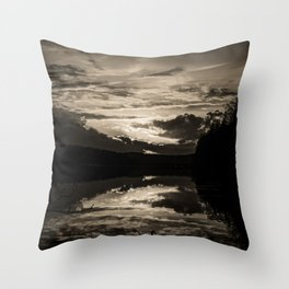 Sundown At Lake Heve 6 sepia Throw Pillow