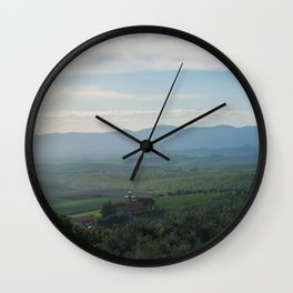 Beautiful spring landscape in Tuscany countryside, Italy Wall Clock