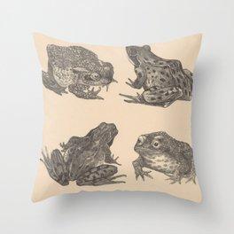 Naturalist Frogs Throw Pillow