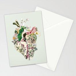 Vintage Botanical Heart On Green Stationery Cards
