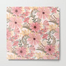 Pink Sage Green Floral Leaves Watercolor Pattern Metal Print