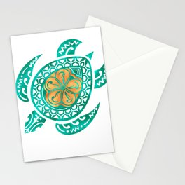 Maui Plumeria Watercolor Turtle Stationery Cards