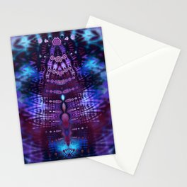 Luscious Blue and Purple Tie Dye Fractal Stationery Cards