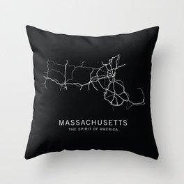 Massachusetts State Road Map Throw Pillow
