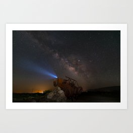 Milky Way over Borrego Springs J E E P sculpture Art Print