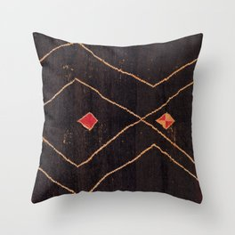 Feiija  Antique South Morocco North African Pile Rug Print Throw Pillow