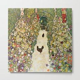 Gustav Klimt Garden Path With Chickens Metal Print
