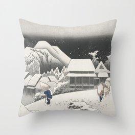Kanbara Station - Vintage Japan Woodblock Throw Pillow