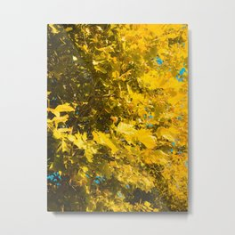 closeup yellow leaves texture abstract background Metal Print