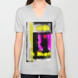 Confined - Abstract, geometric oil painting in red, black, yellow and purple Unisex V-Neck