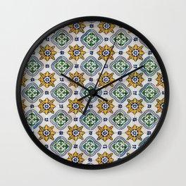 Mediterranean Vintage Blue and Orange Tiles Wall Clock