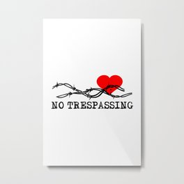 No Trespassing Black On White Vertical Metal Print