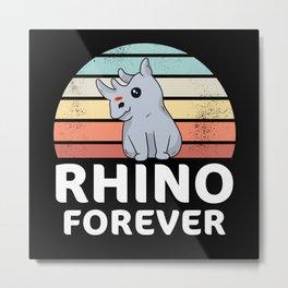 Kawaii Baby Rhino Cute Rhinoceros Gift Metal Print