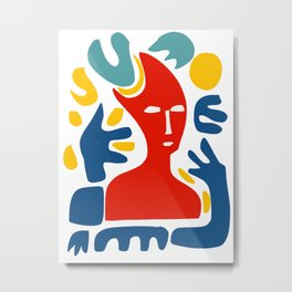Red Man With Blue Arms and Abstract Minimal Shapes Art  Metal Print