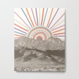 Bohemian Tribal Sun UP / Abstract Vintage Mountain Happy Summer Vibes Retro Colorful Pastel Artwork Metal Print