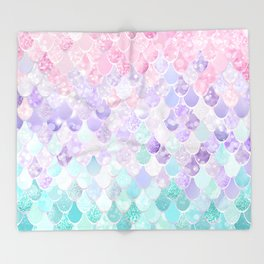 Cute Mermaid Pattern, Light Pink, Purple, Teal Throw Blanket