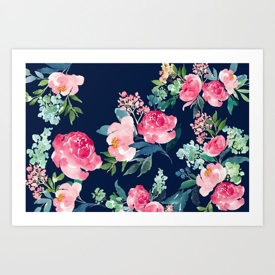 Navy and Pink Watercolor Peony by entirelyeventfulday