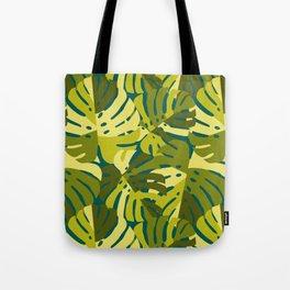 Monstera Leaves in Green Tote Bag