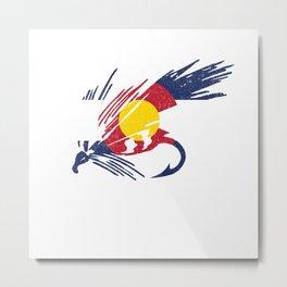 Colorado Fly Fishing Hook Flag River Men Metal Print