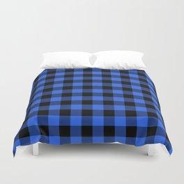 Royal Blue and Black Lumberjack Buffalo Plaid Fabric Duvet Cover