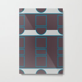 Abstract Geometric Composition - Brown Blue Grey Metal Print