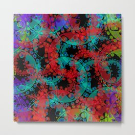 Multicolored delicate pastel red circles and blue ellipses depicting abstract ornamental green flowe Metal Print