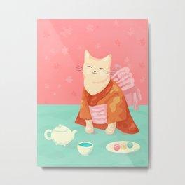 Cute Cat in a Kimono Drinking Matcha Tea and Eating Dango Metal Print