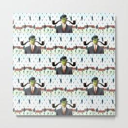 Ear Smoking Apple Guy Standing in the Man Rain Metal Print