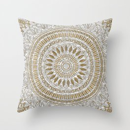 Elegant hand drawn tribal mandala design Throw Pillow
