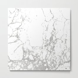 Gray white abstract modern marble pattern Metal Print