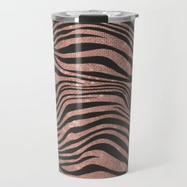 Rose Gold & Black Animal Stripes Travel Mug