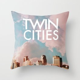 Twin Cities Skylines and Colorful Sky-Minneapolis and Saint Paul Minnesota Throw Pillow