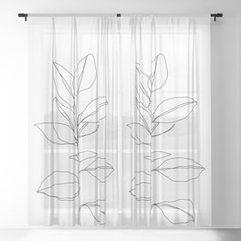 One line plant illustration - Dany Sheer Curtain