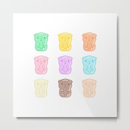 Rainbow Gummy Candy Guinea Pigs Pattern  Metal Print