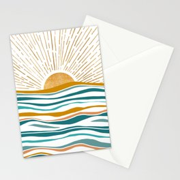 The Sun and The Sea - Gold and Teal Stationery Cards
