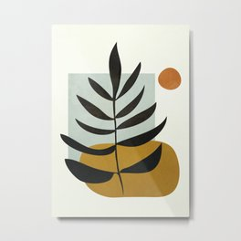Soft Abstract Large Leaf Metal Print