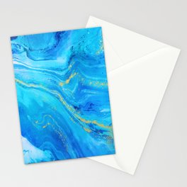Abstract Acrylic Marble Paint Pattern Texture #1 - Blue, Gold Stationery Cards