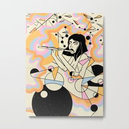 Flute girl geometric abstract surrealism Metal Print
