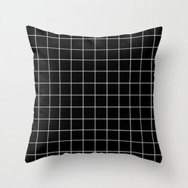 Grid Pattern Line Stripe Black and White Minimalist Geometric Stripes Lines Throw Pillow
