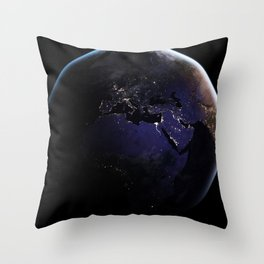 The Earth at Night 1 Throw Pillow