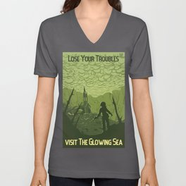 Lose Your Troubles in the Glowing Sea Unisex V-Neck
