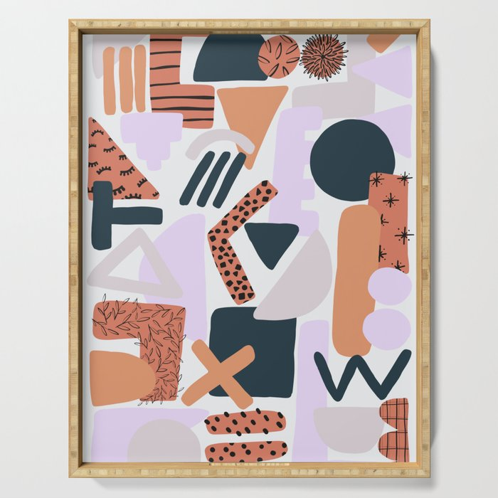 Geometric Doodle Pattern Serving Tray