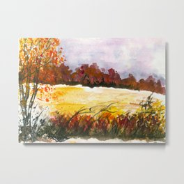 Whispering Grove, Watercolor Landscape Art Metal Print