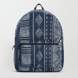 Mudcloth Navy Blue and White Vertical Tribal Pattern Backpack