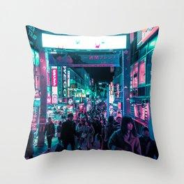Tokyo's Neon-Lit Takeshita Street Throw Pillow