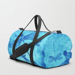 Beautiful dragonflies in blue Duffle Bag