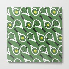 Green Tennis Pattern Metal Print