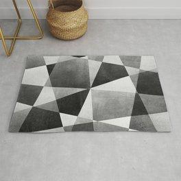 Mid Century Skewed Color Blocks - Gray, Black and White Rug